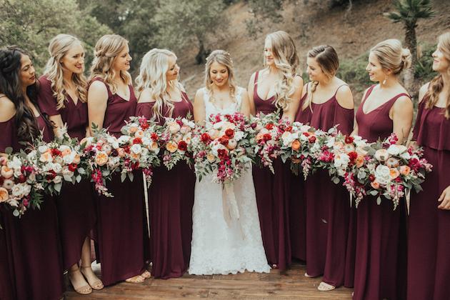 Stylish Burgundy Wedding hosted at Rancho Las Lomas